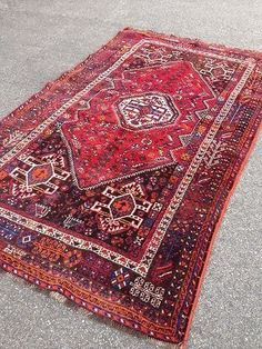 Ancien Tapis C H I R A Z Fais Main Grand Tapis Oriental Persan Rouge Antique | eBay