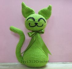 "Greenie Cat 10.62"" - Finished Handmade Amigurumi Crochet"