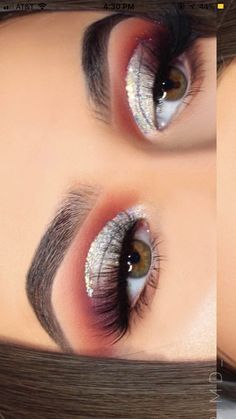 Half cut crease make up look Burnt orange red silver Christmas fall browns gold glitter Cut crease bomb prom