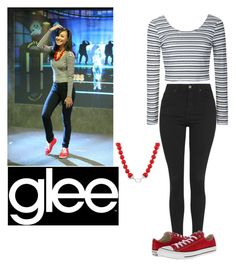 """""""Dress like Naya Rivera/Santana Lopez"""" by natalie-2002 ❤ liked on Polyvore featuring Ally Fashion, Topshop, Converse and Kenneth Jay Lane"""