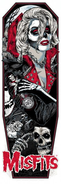 'Ghoul Fiend by Rhys Cooper (Misfit Records Red Lava Holofoil Variant Edition) Rock Posters, Band Posters, Misfits Tattoo, Rhys Cooper, Misfits Band, Arte Punk, Rockabilly Art, Marilyn Monroe Art, Pop Culture Art