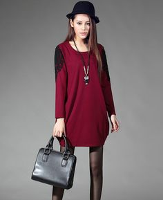 Solid Color Slim Wear O Neck Long Sleeve Lace Split Elegant Women Dress
