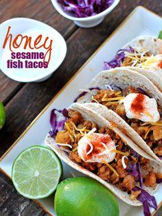 Honey Sesame Fish Tacos w/a Lime Greek Yogurt Sauce