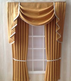 12th Scale Antique Gold Swags And Tails Curtains For By Minichris 12 99