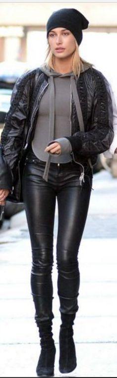 Hailey Baldwin in Purse – Saint Laurent  Jacket – Unravel Project  Pants – J Brand
