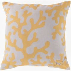 Yellow and white coral motif printed 18 x 18 coastal home pillows. #sale #coastalliving