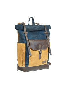 Waxed canvas backpack, roll top canvas leather backpack for laptop, in navy blue, yellow and dark brown. Waxed Canvas, Canvas Leather, Brown Canvas, Men's Backpack, Canvas Backpack, Dark Brown Leather, Natural Leather, Guangzhou, Hipster Rucksack