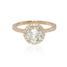 Round 7.5mm Diamond Solitare Engagement Ring with Halo in 14k Gold - LS4270