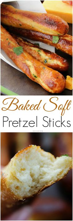"Baked Soft Pretzel Sticks - ""Soft, tender, buttery and brushed with a garlic and herb butter... these soft pretzel sticks from scratch taste amazingly good!"" TheChunkyChef.com"