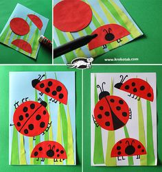 April crafts for kids 83778 - One Art For Kids, Crafts For Kids, Arts And Crafts, Paper Crafts, Ladybug Art, Ladybug Crafts, Kindergarten Art, Preschool Crafts, Paper Flowers For Kids