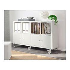 "KALLAX Shelf unit on casters with 4 doors, white - 57 7/8x35 "" - IKEA"