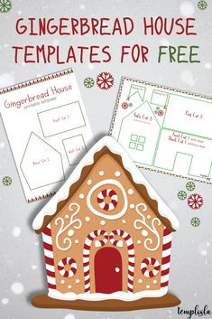gingerbread house template Want to build your own gingerbread house or man? Have a look at this page for printable gingerbread house and gingerbread man templates. Gingerbread House Template Printable, Gingerbread House Patterns, Christmas Gingerbread House, Christmas Card Template, Gingerbread Houses, Christmas Crafts For Gifts, Christmas Sweets, Christmas Candy, Christmas Cookies