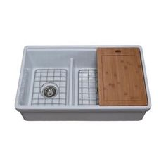 Empire Industries Tosca Farmhouse Fireclay 33 in. Double Bowl Kitchen Sink in White with Cutting-Board, Bottom Grid and Empire Industries Tosca Farmhouse Fireclay 33 in. Double Bowl Kitchen Sink in White with Cutting-Board, Bottom Gri. Fireclay Farmhouse Sink, Fireclay Sink, Farmhouse Sink Kitchen, Rustic Kitchen, Nantucket, Apron Sink Kitchen, Kitchen Sinks, Kitchen Cart, Kitchen Ideas