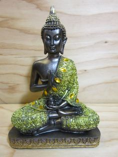 """Vintage Meditating Buddha * Meditation Blessing and Protection Buddha Statue * Medicine Buddha Sculpture * 8 3/4"""" Tall x 6"""" Wide by RainbowConnection15 on Etsy"""