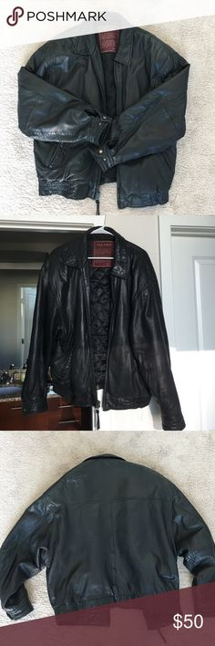 Men's 100% Genuine Lamb Leather Jacket Men's L black leather jacket, such a cool jacket but much too large for me. Can either be worn by a man or woman. The last photo provides the damage that is on the inside of the jacket, the outside is in good condition. Price is firm. J. Park Jackets & Coats