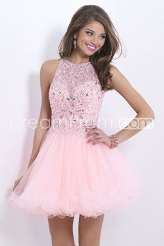 2014 Stunning Halter A Line Short/Mini Prom Dress Tulle With Beaded Lace Bodice Open Back