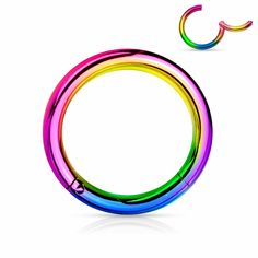 Lobal Domination 1 Piece Rainbow Hinged Segment Ring/Septum Clicker Titanium Anodized Surgical Steel - Choose Your Gauge/Diameter - Diameter Nose Hoop, Helix Earrings, Ring Earrings, Cartilage Earrings, Septum Jewelry, Body Jewelry, Jewellery, Piercing Ring, Lotions