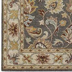 Hand Tufted Coliseum Gray Traditional Border Wool Rug 7 6 X 9