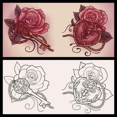 Heart Locket with a Rose...this, but make the locket light blue. http://xxmortanixx.deviantart.com/art/Lock-and-key-tattoo-design-371393669