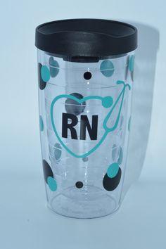 RN Nursing Tumbler, Acrylic Tumbler, Personalized Tumbler by lollybellemonograms on Etsy