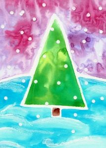 Winter Watercolor...white qtip snowflakes or hole punch and back with white paper!!!! ;)