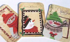 Snow People Tags  Set Of 5  Christmas Snowmen  by SiriusFun