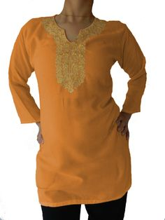 Linen Top with Golden Floral Embroidery in Various Colors (Customizable)