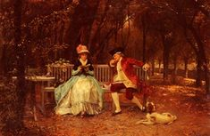 """Women Rejecting Marriage Proposals In Western Art History """"This is my listening guitar!"""" – too funny! Ad Hominem, French Paintings, Unique Paintings, A4 Poster, Poster Prints, Marriage Proposals, Vintage Artwork, Old Master, Western Art"""