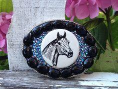 Vintage horse ribbon buckle $240