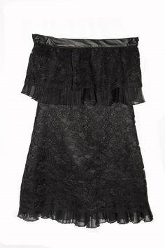 VEREL Vestido de encaje, organza de seda plisada y cuero. Ars $1860
