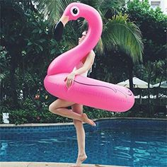 Pink Flamingo Pool Float, Inflatable Summer Toy, Pool Party Toy