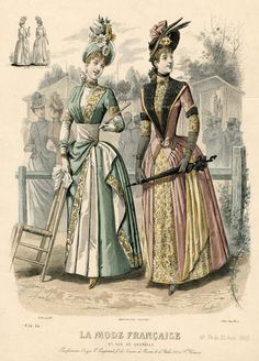 La Mode Francaise 1888 Pink and yellow dress  Left one For the real dress I want to make?