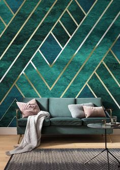 This is an art deco inspired wallpaper, but I think it would look even more stunning with a painted wall and gold wainscoting. #artdeco #emerald #green #interiors #interiordesign #walls #murals #glam #luxe