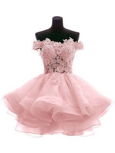 Pink Off Shoulder Lace Applique Homecoming Dress