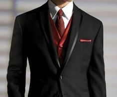 black and red suit: Ricky's pick. Maybe have groomsmen wear grey vest. Vest For Men Wedding, Men's Tuxedo Wedding, Black Suit Wedding, Red Wedding, Wedding Attire, Wedding Ideas, Wedding Groom, Wedding Inspiration, Mens Attire