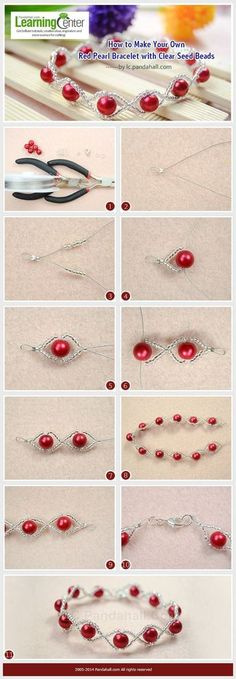 Tutorial DIY Wire Jewelry Image Description How to Make Your Own Red Pearl Bracelet with Clear Seed Beads | See more about Pearl Bracelets, Seed Beads and Bracelets.