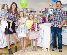 Interesting names: Jools and Jamie Oliver with children, from left to right,Poppy Honey Rosie, Daisy Boo Pamela, Petal Blossom Rainbow…