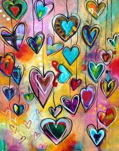 The heart painting Belinda Fireman's students made for Miss Hema, teacher's assistant.