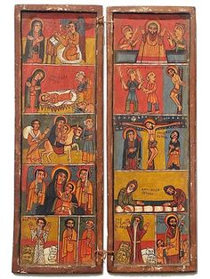 Ethiopian Icon   Ethiopia has been a Christian nation since the 4th century. These wooden icons are hand-carved and hand-painted with scenes from the gospels.