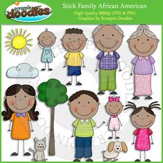 By popular demand our Stick Family African American collection is here and is full of adorable african american stick people family themed