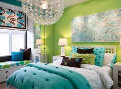 Teen Girl Bedroom Decorating Ideas | Add a Window Seat | DIY Girls Bedroom Ideas (I so want that chandelier. FLOWER POWER!!)