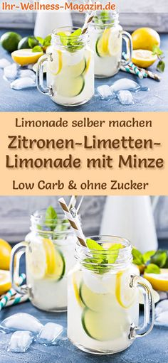 Zitronen-Limetten-Limonade mit Minze selber machen: Low-Carb-Rezept für selbstg… Make lemon-lime lemonade with mint yourself: low-carb recipe for homemade lemonade without sugar – healthy, low-calorie, quick and easy … free it Yourself Easy Cocktails, Cocktail Recipes, Refreshing Drinks, Summer Drinks, Low Carb Recipes, Healthy Recipes, Homemade Lemonade, Lemon Lime, Summer Recipes