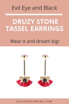 Delightful Evil Eye and Black Druzy Stone Tassel Earrings for the modern woman in your life Tassel Earrings Outfit, Evil Eye Earrings, Fashion Jewellery Online, Color Patterns, Tassels, Im Not Perfect, Stone, Woman, Modern