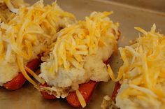 Potato Boats - if you never had potato boats as a kid, you've been deprived! This recipe makes a fun meal that even adults will enjoy.