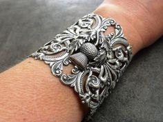 Outlander Jewelry Scottish Thistle Silver Cuff by Serrelynda