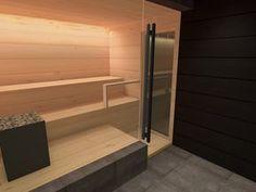saunan suunnitelmat | Talo Markki Converted Garage, Finnish Sauna, Sauna Room, Spa, Future House, Saunas, House Design, Interior Design, Bathrooms