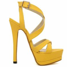 Gorgeous Yellow Strappy Heels | houdwa | Pinterest | Yellow Heels