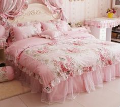 Amazon.com: DIAIDI Home Textile,Romantic Rose Print Bedding Sets,Blue Pink Bedding Sets,Princess Lace Ruffle Bedding Set,Twin/Full/Queen/King Bedroom Set,4Pcs Bed Set (Pink, 4ft bed): Home  Kitchen
