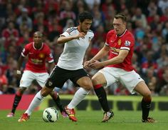 Phil Jones in action against Valencia, in friendly at Old Trafford.