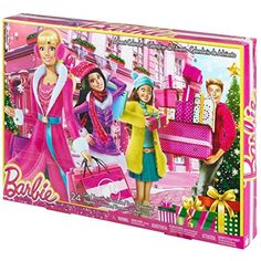 Celebrate the holidays in signature style with this Barbie advent   calendar! Depicting a festive background with a modern look and   sparkling print, girls will love opening a compartment each day -- for   24 days -- to discover a fab fashion, cool accessories and even a gift   for the girl! With fashion items like shoes, purses and jewelry, as well   as go-to pieces like a wrapped present, camera and hair dryer, girls   will love playing out Barbie doll's busy holiday schedule when any...